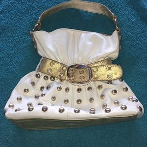 Cute unique Kathy white and gold belt bag
